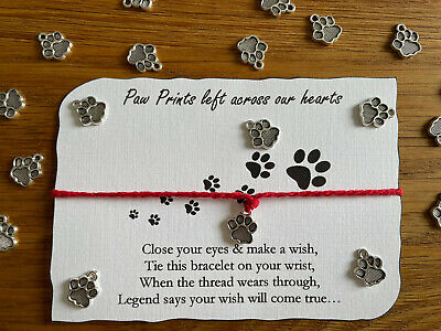 £2.95 • Buy Paw Print Dog Cat Animal Lover Gift Wish Bracelet Silver Charm Any Colour Thread