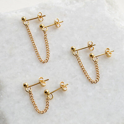 £13.29 • Buy Gold Double Piercing Chain Stud Earrings Pair - For Two Holes Multiple Lobe
