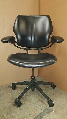 £225 • Buy Humanscale Freedom Task Chair Black Leather Arms Computer Home Office