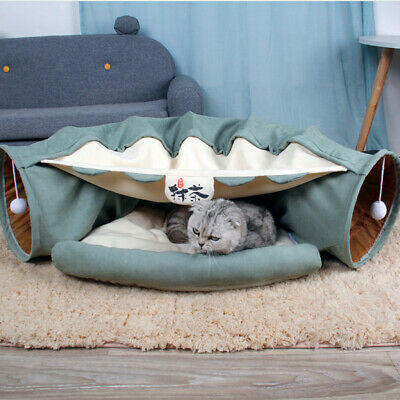 £22.74 • Buy Cat Tunnel Cat Toy Foldable Pet Tunnel With Bed For Cats