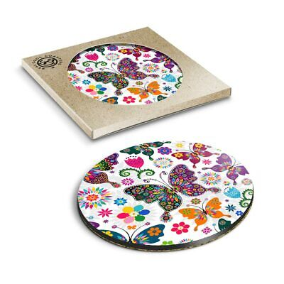 £3.99 • Buy 1 X Boxed Round Coasters - Pretty Floral Butterflies  #2426