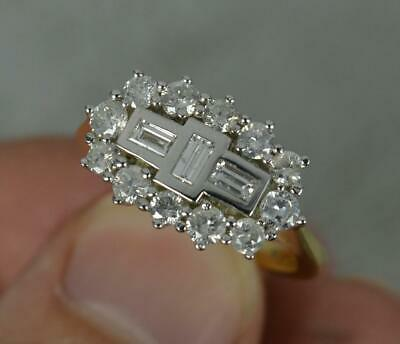 £745 • Buy Contemporary Art Deco 1.00 Carat Diamond And 18 Carat Gold Cluster Ring