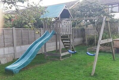 £150 • Buy Wickey Smart Empire Wooden Climbing Frame With Blue Swings And Green Slide