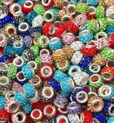 £2.99 • Buy 10 X Polymer Clay Rhinestone Beads Rondelle Large Hole European Mixed Colours
