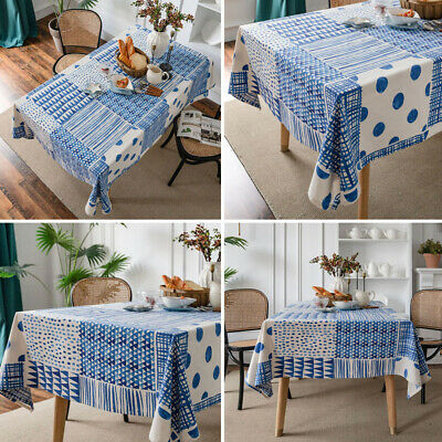 AU12.78 • Buy Geometry Splicing Printed Tablecloth Cotton Linen Dining Table Cover Home Decor