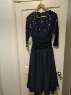 £39.99 • Buy Womens Navy Midi Dress. Lace Effect Sleeves With Lovely Sequin Detail. Size 14