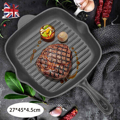 £15.99 • Buy 27cm Griddle Frying Pan Grill Cast Iron Non Stick Skillet Cooking Fry Square UK