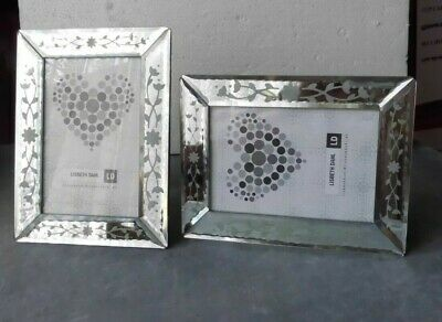 £45 • Buy Pair Of Etched Venetian Mirror Glass 6 X 4in Photo Frames By Lisbeth Dahl