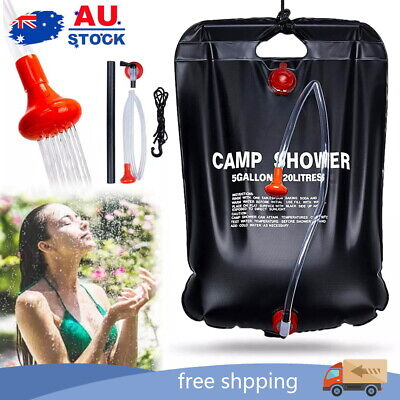 AU11 • Buy 20L Camp Shower Bag Solar Heat Water Pipe Portable Camping Hiking Travel Outdoor