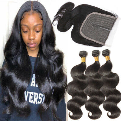 £13.07 • Buy Peruvian Hair 3Bundles With Lace Clsoure 100% Virgin Human Hair Weave Extensions
