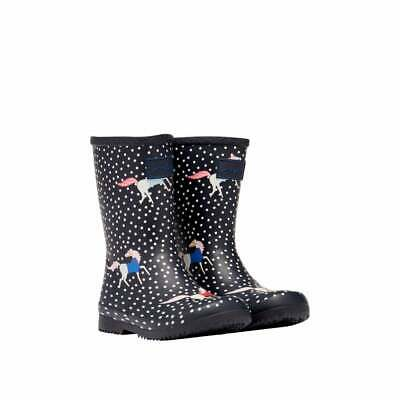 £24.95 • Buy Joules Junior Roll Up Printed Wellingtons - Navy Spotty Horses