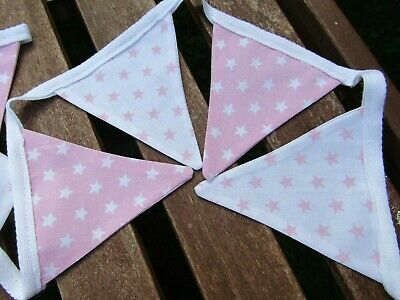 £4.99 • Buy Pink & White Stars Fabric Bunting Double Sided Handmade Garden Party New Baby