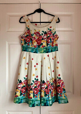 £10 • Buy New Look Sleeveless 50's Style Floral Cotton Dress Inner Petticoat Size 16