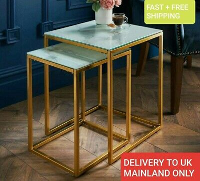 £64.60 • Buy Modern Glass Marble Effect Nest Of 2 Tables With Gold Finish Legs