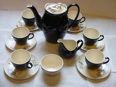 £15 • Buy 1960's Vintage Black Coffee Set Made By Johnson Brothers