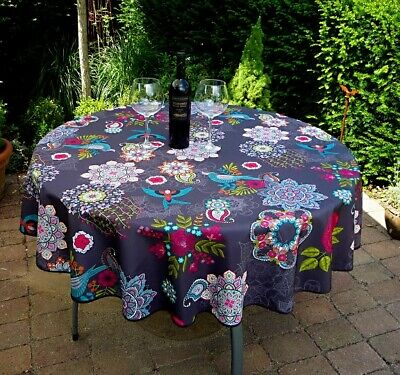 £16.31 • Buy Tablecloth 160 CM Round Black Flowers France Provence Easy-Care Non-Iron