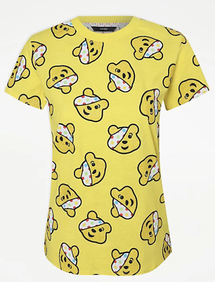£11.80 • Buy BBC Children In Need All Over Pudsey Bear's Head Print Yellow T-shirt Size L