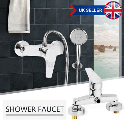 £17.79 • Buy Bathroom Shower Head Bath Faucet Wall Mounted Hot Cold Mixer Tap Triangle Valve