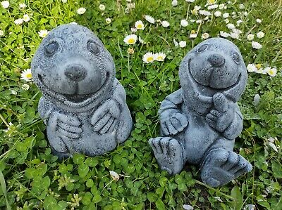 £30 • Buy Set Of 2 Cute Garden Moles ,Concrete, Stone Casted, Fast Shipping