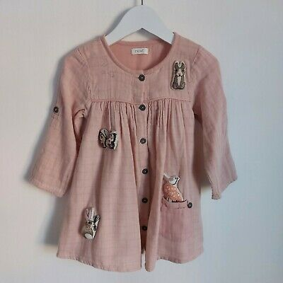 £3.15 • Buy Next Girls Pink Embroidered Animal Long Sleeve Dress 12-18 Months