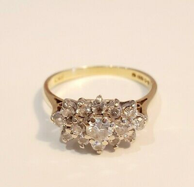 £850 • Buy 18ct Yellow Gold Fifteen-Stone 1ct Diamond Cluster Ring 3.00g Size L½