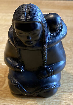 £19.95 • Buy Eskimo Inuit Hand Carved Etched Sculpture ~ Mother & Baby ~ Made By Soma Canada