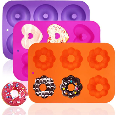 AU26.37 • Buy 3 Pack Silicone Baking Tray Doughnut Maker Moulds, Finegood Cupcake Tray Silicon