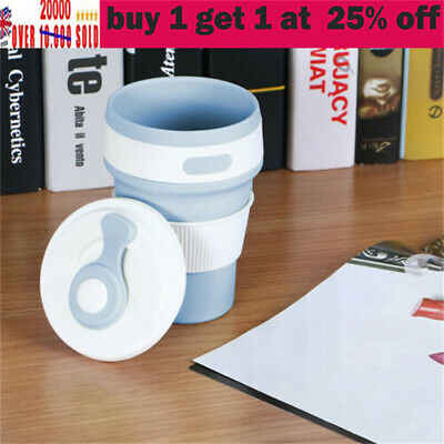 £8.38 • Buy Collapsible Silicone Coffee Cup Reusable Folding Mug Travel Leak Proof Bottle Da