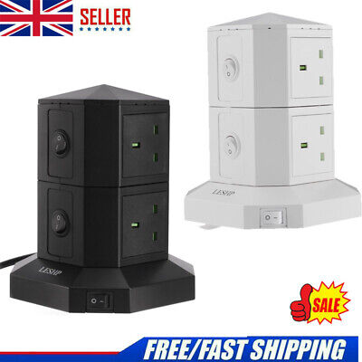 £14.85 • Buy 2 Tier Switched Surge Protected Tower Socket 9.8FT Extension Lead With 6 USB NEW