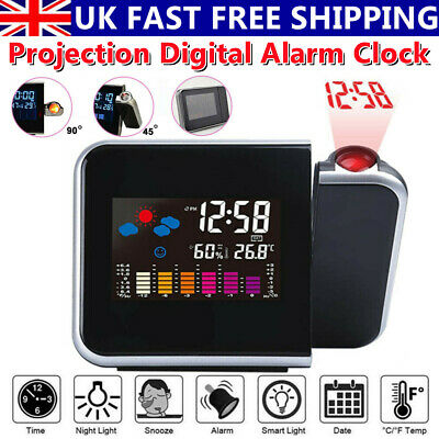 £8.79 • Buy LCD Digital LED Projector Projection Weather Station Calendar Snooze Alarm Clock