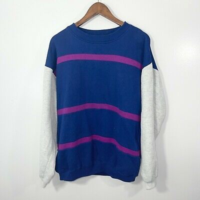 £14.62 • Buy VINTAGE 90s The Apparel Zone Striped Crewneck Sweater Size Large L
