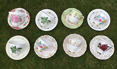 £20 • Buy Pretty Vintage China 8 Tea Cups & Saucers Mismatched Bone China Cups & Saucers 1