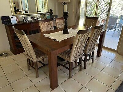 AU400 • Buy Dining Suite Very Solid Table Eight Sturdy Chairs With Rattan Seat And Back