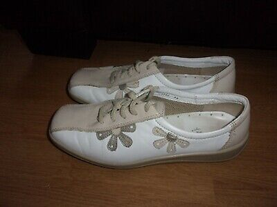 £3.99 • Buy Hotter Salsa, White, Stone & Beige Coloured Ladies Leather Flat Shoes Size 5.5