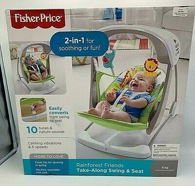 £65 • Buy 2 In 1 Rainforest Friends Take-Along Swing & Seat By Fisher Price  9kg Max W