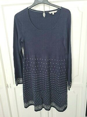 £14.99 • Buy Fat Face Navy Blue Knit Dress With Cream Fair Isle Pattern Size 16