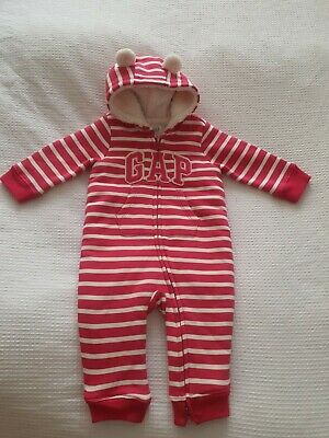 £4.20 • Buy Baby Gap Baby Girls Pink Stripy Fleece Lined All In One Pram Suit 6-12months VGC