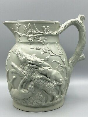 £39.95 • Buy Antique Victorian Relief Jug Boar & Stag Hunt Charles James Mason & Co Staff