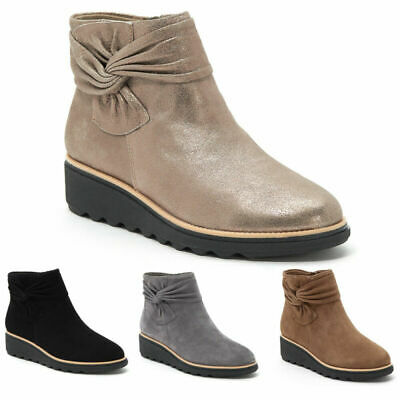 £14.85 • Buy Women Ankle Boots Platform Low Wedge Heels Flat Booties Bowknot Warm Boots Shoes