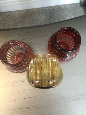 £2 • Buy 3 X Heavy RIBBED GLASS TEA LIGHT CANDLE HOLDERS
