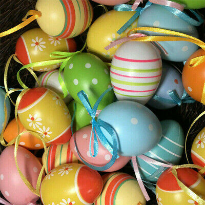 £4.74 • Buy 12PCS Colorful Painted Easter Eggs Hanging Ornaments For DIY Crafts Home Decor