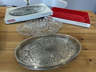 £15 • Buy Viners Of Sheffield Oval Chased Alpha Gallery Tray 30cm