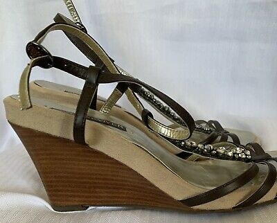 £10 • Buy Next Sole Reviver Brown Leather Stone Embel Wedge Slingback Shoes Size 8(42)D