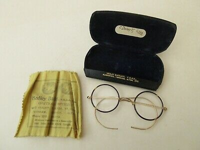 £4 • Buy Antique Yellow Metal Tortoise Shell Glasses Spectacles Hedley Bartlett Optician