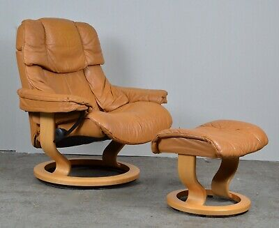 £790 • Buy Stunning Ekornes Stressless Leather Recliner Armchair In Cream Leather & Stool