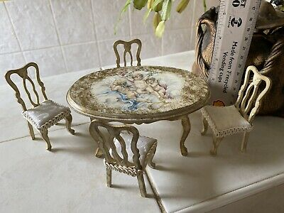 £10 • Buy Dolls House 1/12 Cherub Regency Table And Four Chairs
