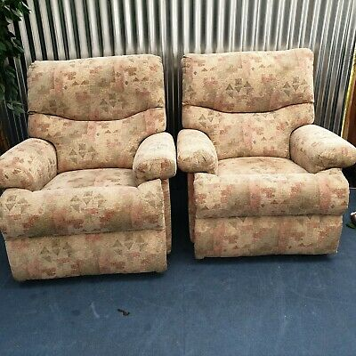 £195 • Buy Manual Recliner Armchairs X 2 Fabric Quality Chairs