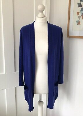 £4.99 • Buy M&S Pure Cashmere Long Royal Blue Cardigan Size 12 Open Front *FLAW*