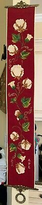 £69.11 • Buy Vintage Handmade Needlepoint Red Floral Tapestry Bell Pull W/ Brass Hardware