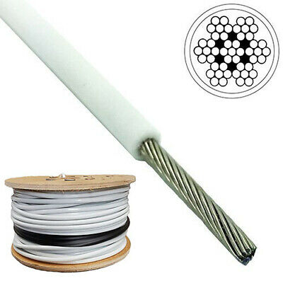 £1.99 • Buy 4mm - 6mm 7x7 Galvanised Steel Wire Rope WHITE PVC Coated MULTIPLE LENGTHS
